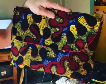 "14"" African Print Clutch Purse, Portfolio bag, Envelope Bag, Travel Case, Laptop Sleeve"