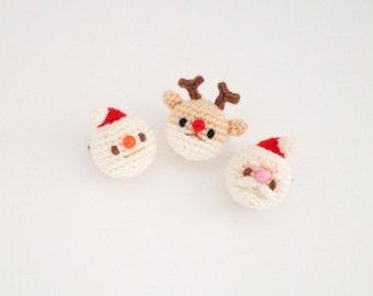 Santa, Snowman, Rudolph - Crochet Christmas Brooch, Corsage, Accessory, Amigurumi