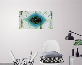The eye of the city, abstract art, contemporary painting, acrylic