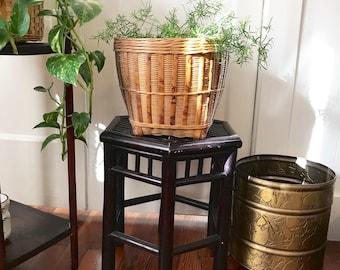 Vintage chinoiserie woven Rattan Basket planter, Tortoise shell bamboo plant basket