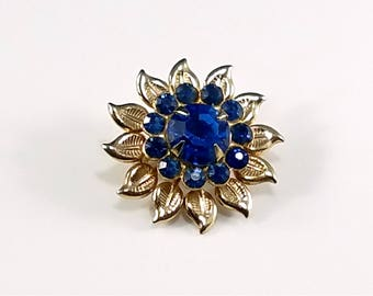 Vintage 1950s Blue Rhinestone Gold-toned Brooch - Vintage Costume Jewelry - 1950s Vintage Pin - Blue Rhinestone Flower Brooch - Collectible