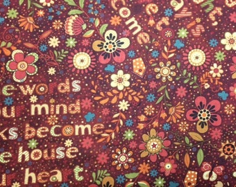 Henry Glass & Co NOTE TO SELF (Wine) 100% Cotton Premium Fabric for Quilting - sold by 1/2 yard