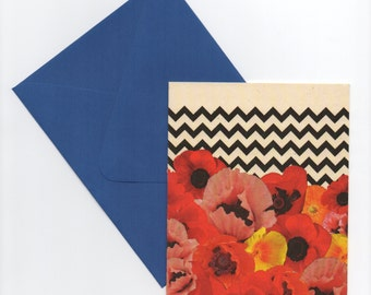 Poppy Chevron Collage Art // Recycled Paper Card