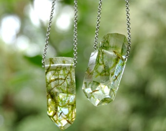 Terrarium Necklace, Terrarium Jewelry, Dandelion Seeds Necklace, Real Moss Necklace, Crystal Necklace, Eco Resin Necklace, Eco Resin Jewelry