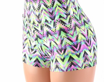 Neon UV Glow Chevron Candy High Waist Shorts Festival Rave Clubwear -153959