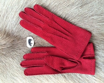 Unlined Handmade Women's Suede Carpincho Leather Gloves