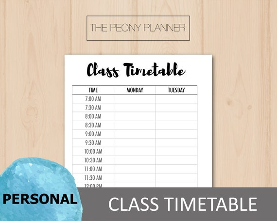 Printable Student Class Timetable Planner Insert Personal