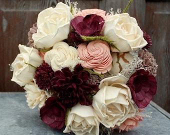 Sola flower bouquet, eggplant sola wood flower wedding bouquet, blush and deep plum, champagne eco flowers, alternative keepsake bouquet
