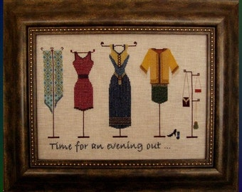 "Cross Stitch Instant Download Pattern ""An Evening Out"" Counted Embroidery Chart. Evening Dresses  Accessories Clothing X Stitch."