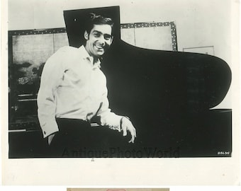 Pianist John Browning by piano vintage music photo