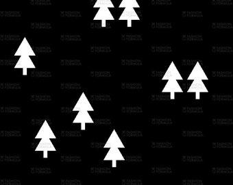 Trees on Black Fabric by littlearrowdesigncompany