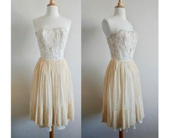 Gardenia 50s Strapless Chiffon Dress   Vintage 50s Lace and Chiffon Strapless Party Dress - TLC
