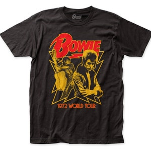 David Bowie 1972 world tour 30/1 cotton fitted jersey tee (DB25) black