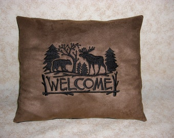 Embroidered Bear and Moose Welcome Pillow, Handmade Pillow, Lodge or Cabin Decor, Rustic Decor