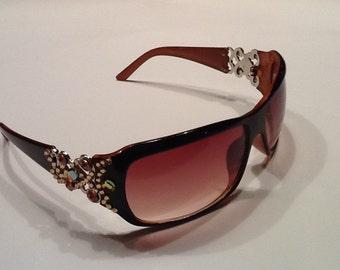 Brown Sunglasses with Swarovski Crystals