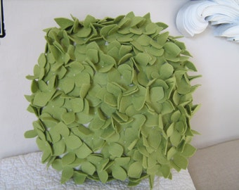 Round Hydrangea Pillow in Sage Green Felt and Linen