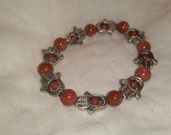 Hamsa Hand with Orange Sandstone Beads FREE SHIPPING
