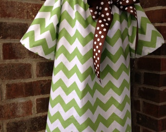 Peasant Dress - Girl, Toddler Girl - Available in size 5T, 6, 7/8 - Riley Blake Chevron