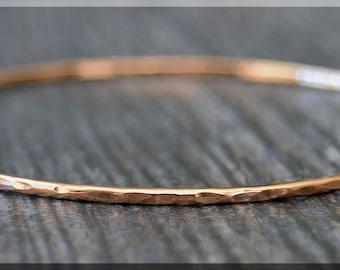 Solid 14k Rose Gold Bangle Bracelet, Hammered Bangle, 14k Gold Stacking Bracelet, Solid Gold Minimalist Bracelet, Simple Stacking Bangle
