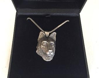 Silver german shepherd pendant