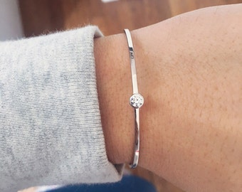 Bracelet Bangle - silver rhinestone and oxides and solid 925 Silver CZ - sterling silver bangle