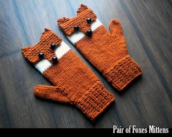 Pair of Foxes Mittens for the Family Knitting Pattern