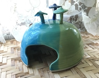 Hand Made Porcelain Toad House in Turquoise, Green, and Cobalt Blue