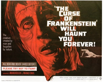 "Vintage Horror Science Fiction Movie Poster Print, 1957, The Curse of Frankenstein, PMSF 8"" x 10"""