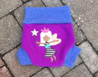 Cloth diaper cover, wool soaker, upcycled shorties with wool doubler - Size Large - Purple with a fairy applique