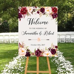 Wedding Welcome Sign Marsala Burgundy Peonies Floral Boho Digital Wedding Reception Sign Bridal Wedding Welcome Poster WS-024