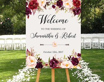 Wedding Welcome Sign Marsala Burgundy Peonies Floral Boho Digital Wedding Reception Sign Bridal Wedding Welcome Poster WS-024