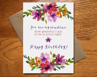 Every day spirit watercolor happy birthday card for her watercolor happy birthday card for her floral birthday card beautiful birthday card pretty bookmarktalkfo Images