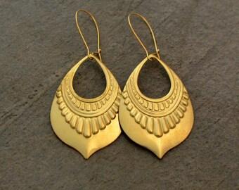 Gold Tribal Earrings - Boho Earrings - Shield Earrings