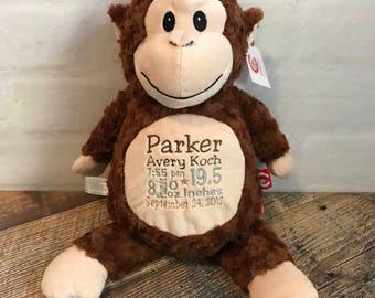 Personalized Newborn Baby Gift, Personalized Monkey Cubbie
