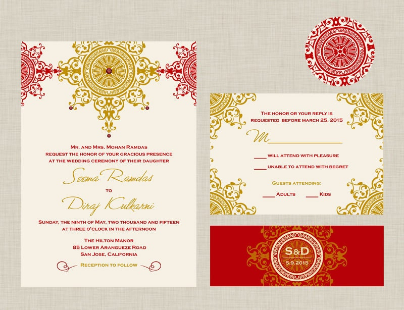 The Azva Collection Indian Wedding Invitation An Ornate