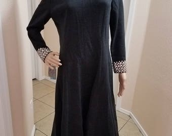 1960's NOS Carlye Black Wool Studded A-Line Dress Mad Men, Mod, Size 14