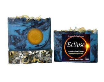ECLIPSE Handmade Soap   ALMOND Scented Soap   Gift for Mom   Decorative Soaps   Cold Process Soap   Handcrafted soap   Blue Soap   For Guys