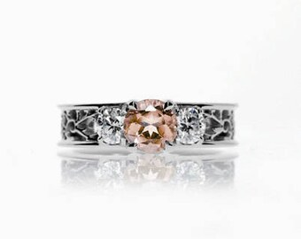 Trilogie filigree ring with Morganite engagement, 0.50ct diamond ring, filigree engagement ring, morganite, wedding ring, trinity, unique