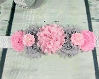 Pink and Gray Maternity Sash / Pregnancy Sash / Baby Shower Sash / Gender Reveal Sash / Sash for Photos / Chevron Sash / Belly Band / Girl
