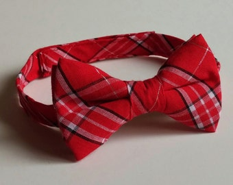 Red Plaid Bowtie - Infant, Toddler, Boy-                                   2 weeks before shipping