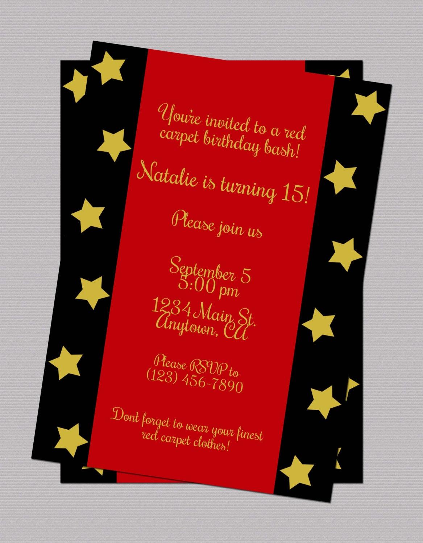 red carpet teen birthday invitation digital birthday