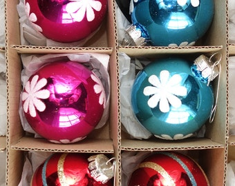 Vintage Style Glass Ornaments Set of 6