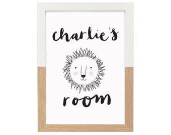 Personalised name print door sign lion   brush lettering illustration nursery print kids room decor monochrome A4 8x10