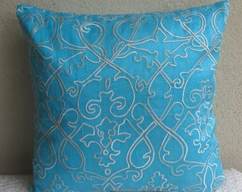 light blue silk  pillow cover with white filigree embroidery , tuquoise aqua blue pillow cover 18X18