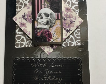 Handmade Gothic Steampunk Birthday Card.