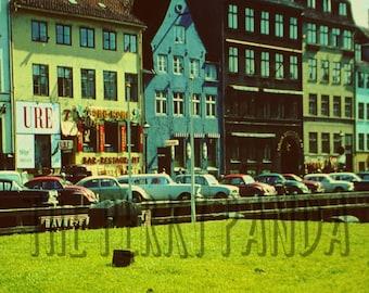 Rustic photo print, old cars, street scene, retro photo print, photography, home decor, wall art