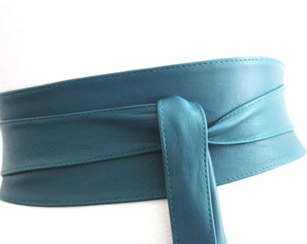 Dark Turquoise Obi Belt | Teal Bridesmaid Sash Belt | Real Leather Belt| Handmade Belt | Wrap Belt | Petite to Plus Size | Corset Belt