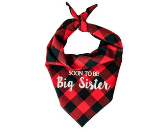 Dog Bandana Birth Baby Announcement, Soon to be Big Sister, Pregnancy Announcement, Big Sister Dog Bandana, New Dog Bandana, Baby Shower
