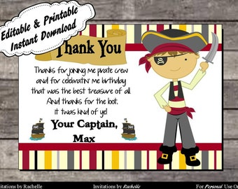 Pirate Thank You Card Birthday Party  - Editable Printable Digital File with Instant Download