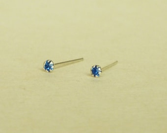 2 mm - Very Tiny Royal Blue Crystal Rhinestone Cartilage Ear Studs- 925 Sterling Silver Earrings - Cartilage Earring  Second Hole Earrings